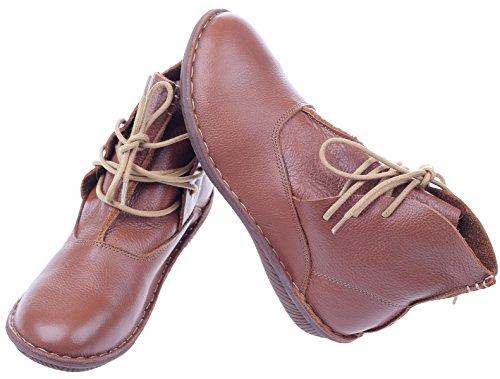 Flache Braun Damen Art Stiefel New Schuhe Leder Vogstyle 1 ac8fq6IW