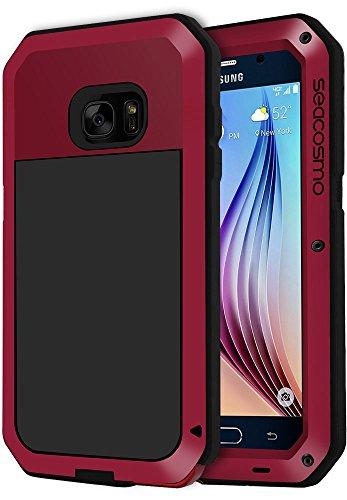 seacosmo Galaxy S6 Hülle, [Tough Armor] Aluminium Doppelte Schutz Stoßfest Ganzkörper Schutzhülle mit eingebauter Displayschutz für Samsung Galaxy S6, Rot