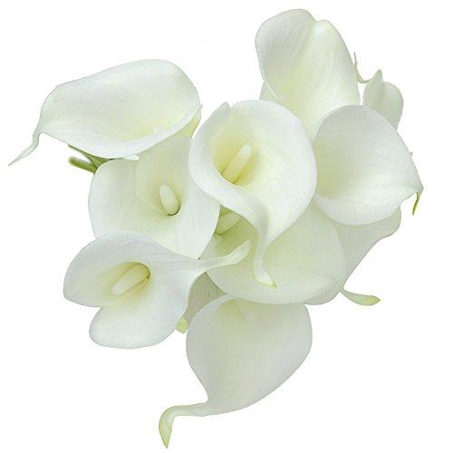 kingtoys® 10PCS PU Artificiale Avorio Calla Lilies Real Touch Latex Piante Fiori per la cerimonia nuziale per la decorazione domestica