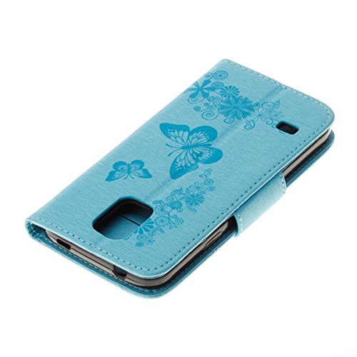 Hülle für Samsung Galaxy S5 Mini, Tasche für Samsung Galaxy S5 Mini, Case Cover für Samsung Galaxy S5 Mini, ISAKEN Blume Schmetterling Muster Folio PU Leder Flip Cover Brieftasche Geldbörse Wallet Cas Schmetterlinge Blumen Blau