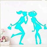 Adesivo decorativo Shopping Girl Adesivo decorativo Decorazioni per la casa impermeabili per soggiorno Adesivi creativi Azzurro 57cm X 66cm