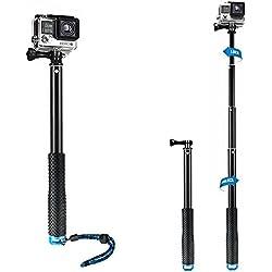 mistero impermeabile subacquea per GoPro flessibile in alluminio telescopico monopiede selfie stick palo con vite e cinturino da polso regolabile per GoPro Hero SJCAM Xiaomi Yi Action Camera (11–91,4cm)
