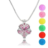 Abenily Small and Practical Life Items Flower Essential Oil Diffuser Surgical Locket Pendant Necklace
