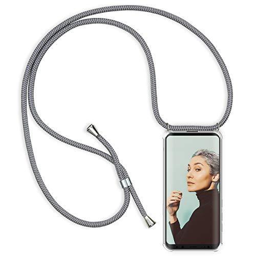 Zhinkarts Handykette kompatibel mit Samsung Galaxy S8 - Smartphone Necklace Hülle mit Band - Schnur mit Case zum umhängen in Grau