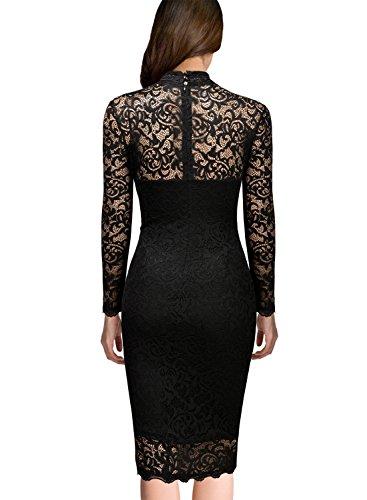 Miusol Damen Spitzen Cocktailkleid Elegant Abendkleid Brautjungfer Ballkleid Rundhals Langarm Stretch Kleider Schwarz Gr.M -