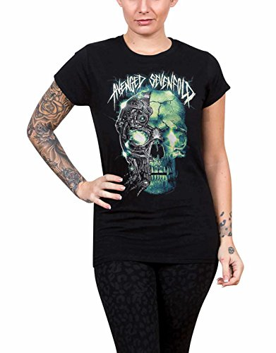 Avenged Sevenfold T Shirt Turbo Skull band logo offiziell damen Skinny Fit (Skinny Fit-band-t-shirts)