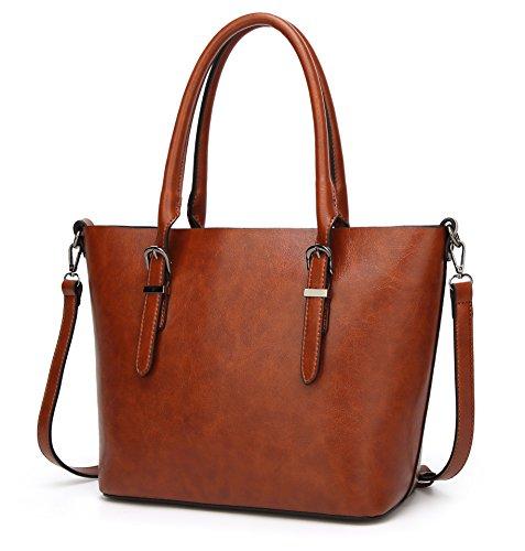 Greeniris Elegant PU Leder Handtaschen Damen Schultertasche Shopper Damen Umhängetaschen Tasche Kaffee Braun