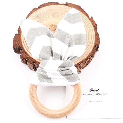 Anillo Mordedor madera dentición Juego de regalo anillo Orgánica Orgánica de madera del bebé Teether Juguetes para niños Juguete Ecológico Montessori Mordedor del oído del conejito