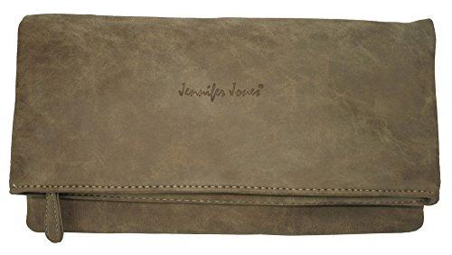 Damentasche Handtasche Jennifer Jones Taschen   Umhängetasch Schultertasche   große Clutch Tasche für Damen   2 Tragevarianten Clutch / Crossbody Bag + kleine Kosmetiktasche extra (3819) Taupe