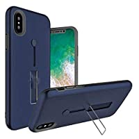 For Apple iPhone XR 6.1 inch Matte Shockproof Ring Stand PC+TPU Back Case Cover - navy blue color
