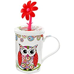 Carmani - Diseno del búho Taza de consumición del café o del té con tapa 350ml