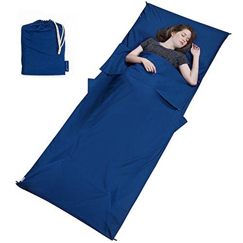 Mycarbon sacco lenzuolo da viaggio sacco letto fissabile 90 * 220cm in fibre morbido sacco a pelo lenzuola sacco per casa camper treno albergo