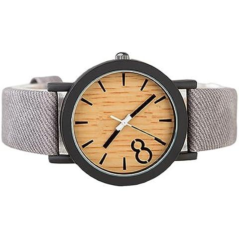 I9Q uomini impermeabile in lega simulato legno orologio di quarzo analogico Cinturino in pelle