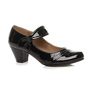 Womens Ladies mid Heel Mary Jane Strap Smart Work Comfort Court Shoes Size 6 39