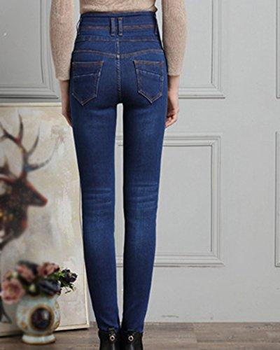 Donna Jeans Lunghi Pantaloni A Vita Alta Jeans Blu