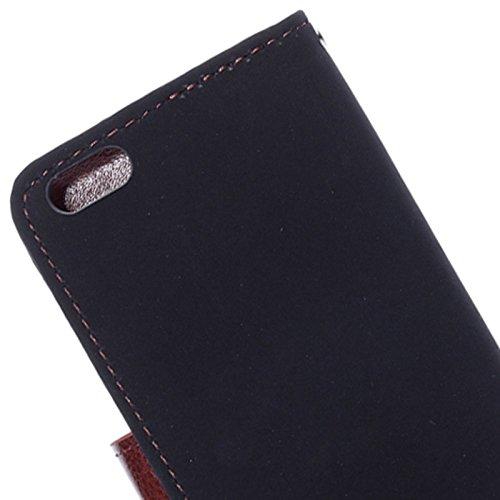 """wortek Flip Case Apple iPhone 6 (4,7"""") Tasche Etui Magnetverschluss Standfunktion & Fächer für Karten Rot Braun Schwarz"""