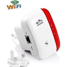 Wifi Repetidor 300 Mbit/s Wireless Range Extender inalámbrico amplificador de amplificación de señal WiFi Access Point (WPS, puerto LAN, 2,4 GHz) willigt IEEE802.11 N/g/b ,Blanco