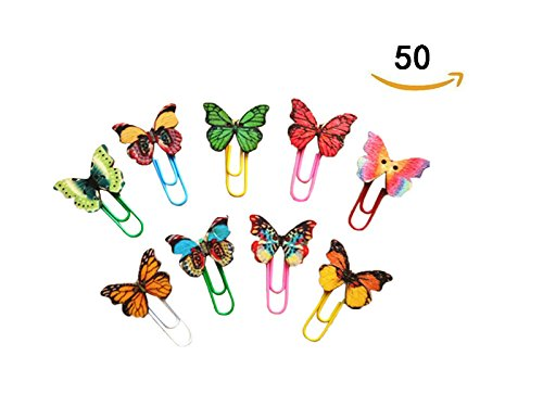 Dosige 50pcs Schöner Schmetterling Büroklammer Paper Clips Binder Clips Deko Büroklammern Lesezeichen Clips 33mm