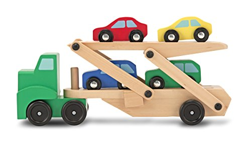 Image of Melissa & Doug Car Transporter and Cars Wooden Toy Set With 1 Truck and 4 Cars