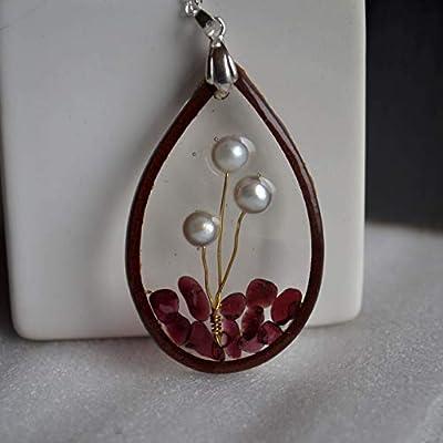 Perle Pierre Naturelle Arbre de la vie Grenat Goutte d'eau Résine Cuir Argent Sterling 925 Chaîne Colliers avec pendentifs