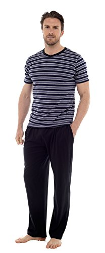 Herren Pyjama Satz Kurzärmeliges Top & Lange Hosen Hose Sommer Insignia Grau & Schwarz