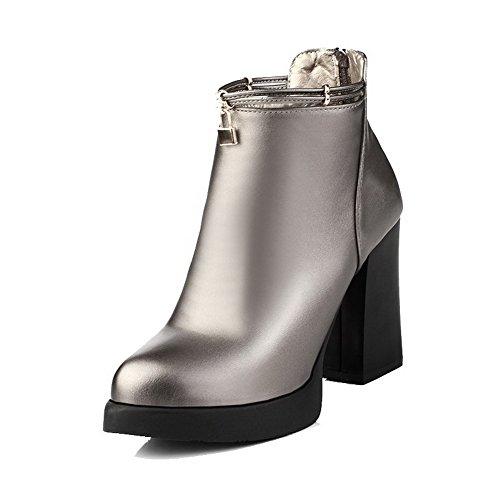 AgooLar Damen Weiches Material Spitz Zehe Eingelegt Niedrig-Spitze Stiefel Silber