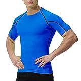 OXENSPORT Herren Funktionsshirt Fitness Kurzarm, Sport Tshirts Atmungsaktiv (Blau, Large)