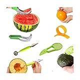 Multifunktionale Fruchtschneider - wassermelonen schneider aus edelstahl und Doppelzweck Melonenausstecher, Orangenschäler, Avocado Slicer