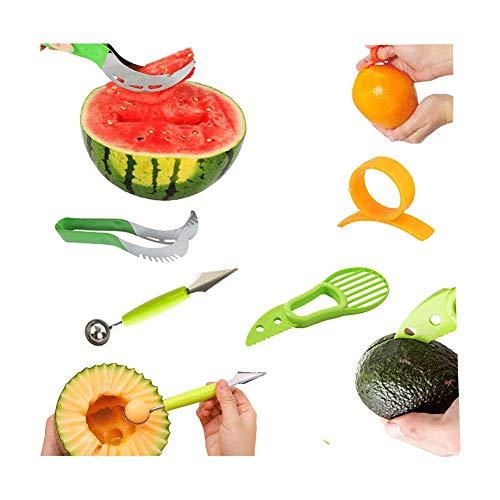 4 Coltelli per Frutta e Verdura - Taglia Anguria Acciaio Inossidabile, Scavino per Melone a Doppia Funzione in Acciaio Inox,Avocado Affettatrice,Pela Arancia