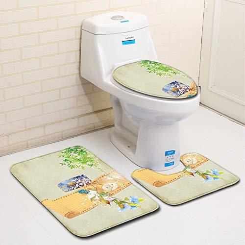 3D-Badteppich, 3-teilig, rutschhemmend, Badvorleger, WC-Decke, WC-Sitz, Badezimmer, Antik-Stil, Bamboo Slip, 45 * 75cm+35 * 45cm+45 * 37.5cm