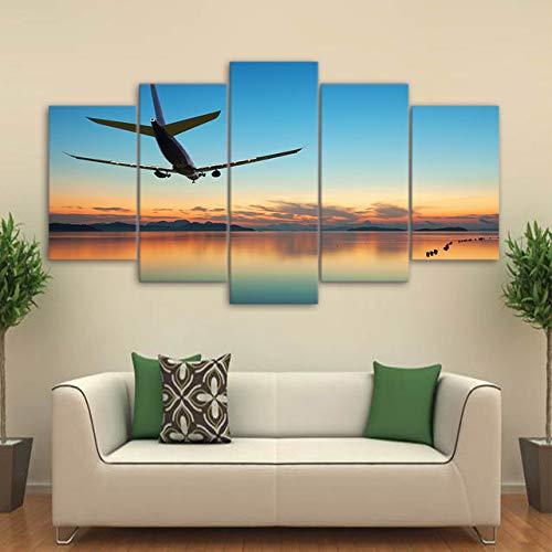 adgkitb canvas Flugzeug Abheben Landschaft Feine 5 Fünf Stücke Leinwand Drucke Malerei Home Wall Decor Moderne Raumkunst Für Wohnzimmer Gerahmte KEIN Rahmen