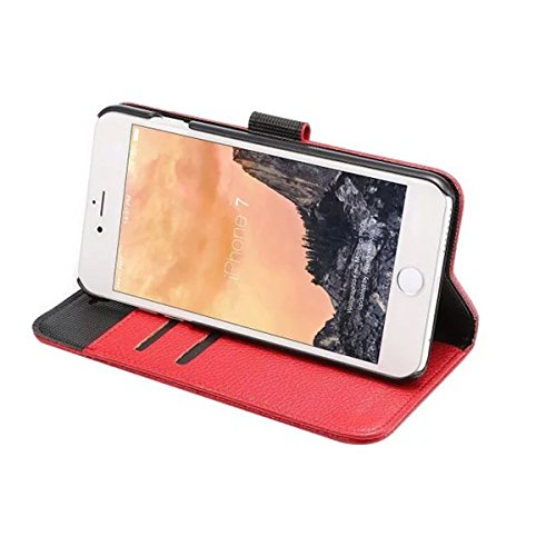 iPhone 7 Coque, Apple iPhone 7 Coque, Lifeturt [ Rouge ] Motif Pure Couleur Housse en Cuir Case à Avec La Fonction Stand Coque de Intérieure Protection Souple Coque Portefeuille TPU Silicone Case Cove E2-Rouge
