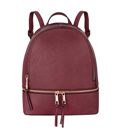 CRAZYCHIC - Borsa Zainetto Piccolo Zip Donna - Zaino Casual Daypack Backpack PU Pelle - Borsetta a Spalla Molti Scomparti - Borsa a Mano Shopping Viaggio Città Moda Elegante - Bordeaux Rosso