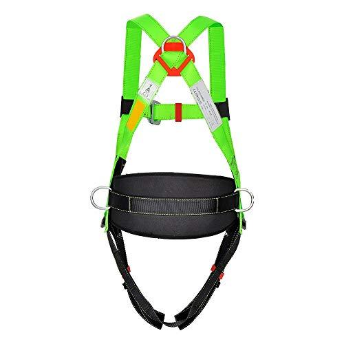 Jadeshay Imbracatura Completa - Kit di Sicurezza anticaduta Kit di ritenuta anticaduta con Supporto per la Vita, Completamente Regolabile per l'arrampicata all'aperto, Nero Verde
