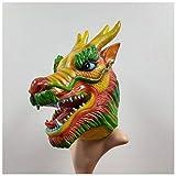 Máscara YN Novedad de Lujo Halloween Festival del Barco del dragón Chino Látex Capucha dragón Juega Accesorios (Color : Green)