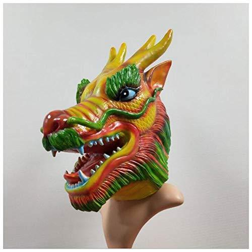 Maske YN Luxus Neuheit Halloween Chinesisches Drachenboot Festival Latex Hood Drachenmaske Requisiten (Color : Green)