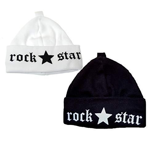 babymajawelt® Duo Set - 2 Babymützen Set Rock Star + Prince + ViB + Princess - Erstlingsmützen 0-3 Monaten (Rock schwarz+ (Rockstar Hats)