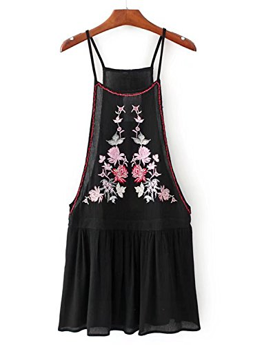 ACHICGIRL Women's Spaghetti Strap Cut out Sleeveless Floral Embroidery Dress Black