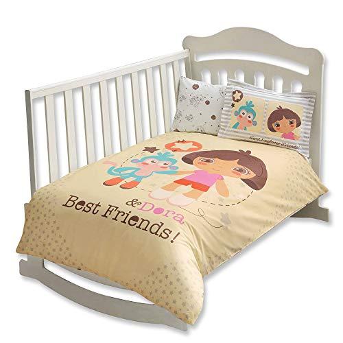 100% Bio-Baumwolle Weich und gesund Baby für Kinderbett, Bettbezug Set 4Stück, Dora Best Friends Offiziell Bettwäsche-Set