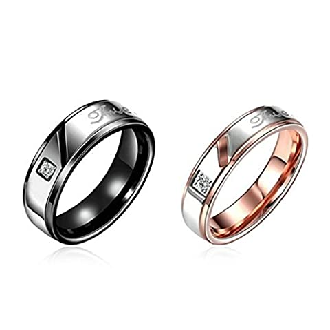 SanJiu Jewelry Women Wedding Rings Round Stainless Steel Ring with CZ Cubic Zirconia Promise Anniversary Engagement Charm Ring for Women Rose Gold Size P 1/2