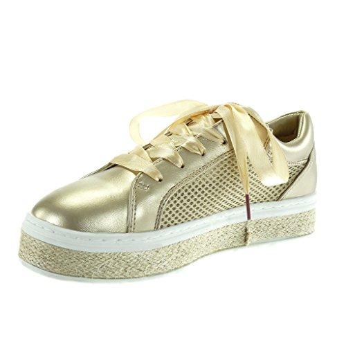 Angkorly - damen Schuhe Sneaker Espadrilles - Tennis - Plateauschuhe - Schnürsenkel aus Satin - Perforiert - Seil flache Ferse 3.5 CM Gold