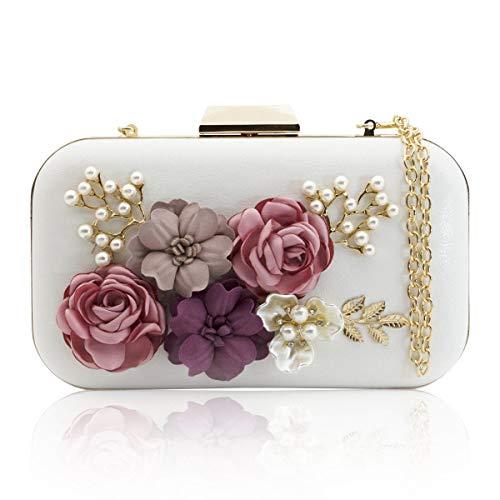 M'SM Frauen Kupplungen Geldbörsen Taschen Blume Leder Umschlag Perle Brieftasche Abend Handtasche (Weiß),1 (Billig Kupplung Brieftasche)