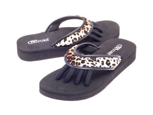 Pedi Couture SPA Pediküre Sandale Schwarz mit Leoparden-Optik, Größe L