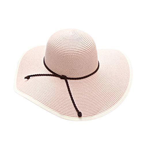 Frauen Damen Faux Rattan Bow-Knoten Stroh Floppy Sonnenblende Kappe Große Hut mit Breiter Krempe Einstellbar Roll Up Einstellbare Beach Cap, Ibuprofen, Rosa -
