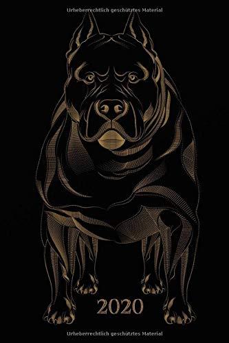 2020: Schwarzer - Hunde Pitbull  Kalender - Wochenkalender - Zielsetzung - Zeitmanagement - Produktivität - Terminplaner - Terminkalender -  12 Seiten ... für Notizen + 20 Blanko Seiten für Skizzen