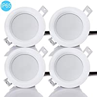 PRODELI LED Downlights Dimmable Recessed Ceiling Light Round Flat Light Waterproof IP65 for Bathroom Bedroom Dining Living Lamp AC220-240V with built-in LED Driver (Pack of 4, 9W, Cool White, 3 Inch)