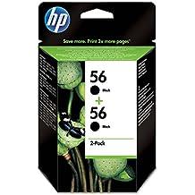 HP C9502AE - Pack de 2 cartuchos de tinta HP 56, negro
