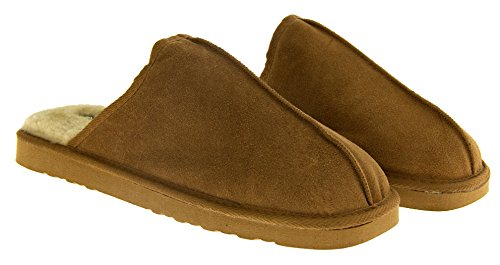 Uomini Pelliccia Scamosciata Foderata Marrone Pantofole Dunlop Finta Pelle In Brandon wAxSU68O