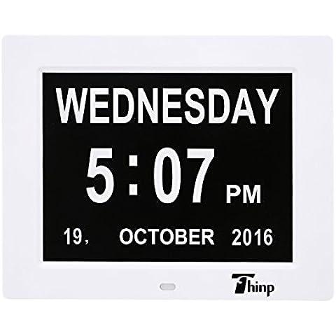 Thinp Marco Digital de Fotos Calendario Digital Reloj Despertador Reproductor Múltifuncional de MP3 MP4 AVI RMVB 8 Pulgadas 1024x768 HD LCD Pantalla Ancha