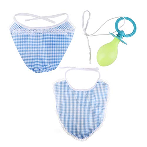 dPois Erwachsene Baby-Set Kostüm Mütze mit Latz und Schnuller Frauen Männer Nuckel Verkleidung Erwachsene Babykostüm Party Cosplay Karneval Fasching Verkleidung Blau One ()